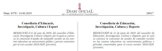 Calendario Escolar 2020 2019 Comunidad Valenciana.Resolucion Para La Solicitud De Las Becas Del Menjador Curso 2019